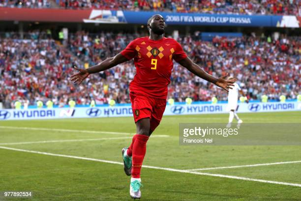 Romelu Lukaku of Belgium celebrates after scoring his team's third goal during the 2018 FIFA World Cup Russia group G match between Belgium and...