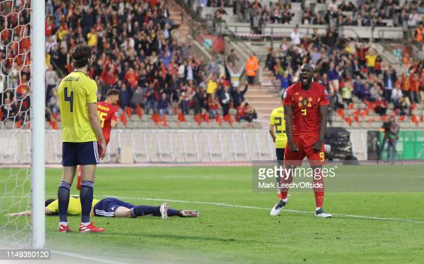 Romelu Lukaku of Belgium celebrates after scoring the opening goal during the UEFA Euro 2020 qualifying match between Belgium and Scotland at King...
