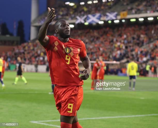 Romelu Lukaku of Belgium celebrates after scoring the second goal during the UEFA Euro 2020 qualifying match between Belgium and Scotland at King...