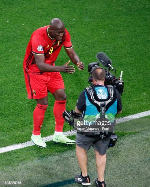 Romelu Lukaku of Belgium celebrates after scoring their side's first goal during the UEFA Euro 2020 Championship Group B match between Belgium and...