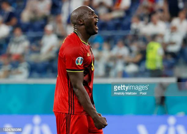 Romelu Lukaku of Belgium celebrates after scoring their side's second goal during the UEFA Euro 2020 Championship Group B match between Finland and...