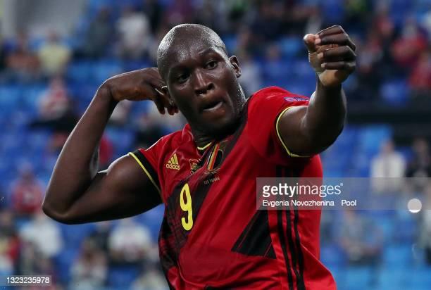 Romelu Lukaku of Belgium celebrates after scoring their side's third goal during the UEFA Euro 2020 Championship Group B match between Belgium and...