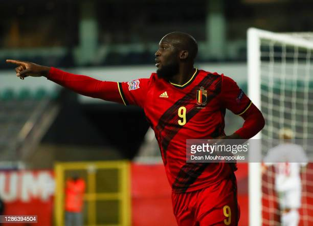 Romelu Lukaku of Belgium celebrates after scoring their team's third goal during the UEFA Nations League group stage match between Belgium and...