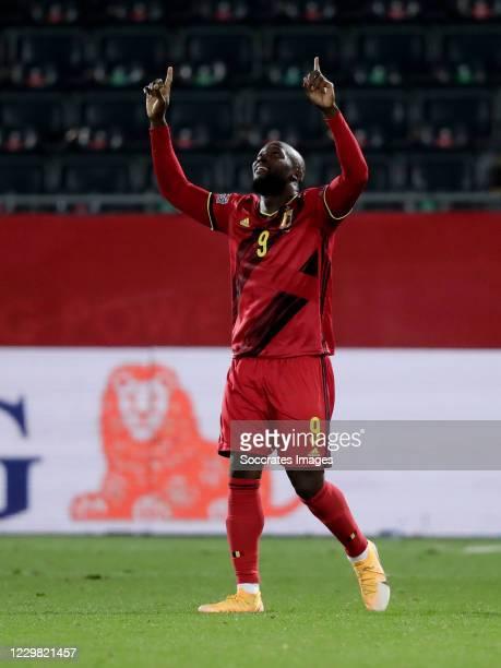 Romelu Lukaku of Belgium celebrates during the UEFA Nations league match between Belgium v Denmark at the King Baudouin Stadium on November 18, 2020...