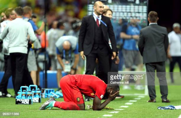Romelu Lukaku of Belgium celebrates following his sides victory in the 2018 FIFA World Cup Russia Quarter Final match between Brazil and Belgium at...
