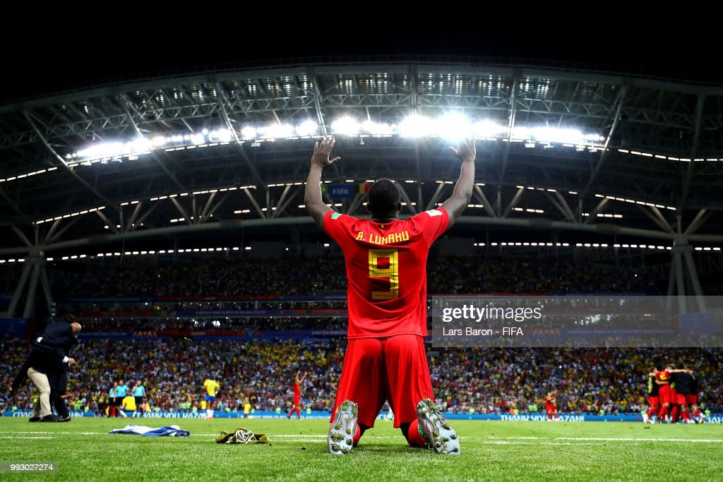 Romelu Lukaku of Belgium celebrates following his sides victory in the 2018 FIFA World Cup Russia Quarter Final match between Brazil and Belgium at Kazan Arena on July 6, 2018 in Kazan, Russia.