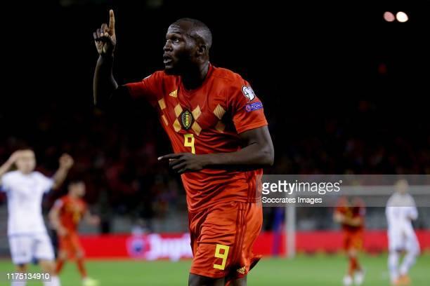 Romelu Lukaku of Belgium celebrates goal during the EURO Qualifier match between Belgium v San Marino at the Koning Boudewijn Stadium on October 10,...