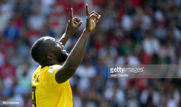 Romelu Lukaku of Belgium celebrates his first goal during the 2018 FIFA World Cup Russia group G match between Belgium and Tunisia at Spartak Stadium...