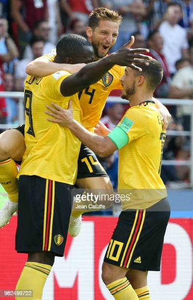 Romelu Lukaku of Belgium celebrates his first goal with Dries Mertens and Eden Hazard during the 2018 FIFA World Cup Russia group G match between...