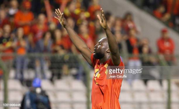 Romelu Lukaku of Belgium celebrates his second and winning goal during the UEFA Nations League A group two match between Belgium and Switzerland at...