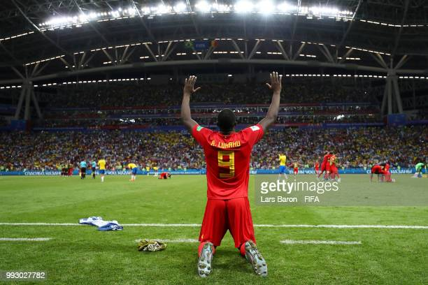 Romelu Lukaku of Belgium celebrates his side's victory following the 2018 FIFA World Cup Russia Quarter Final match between Brazil and Belgium at...