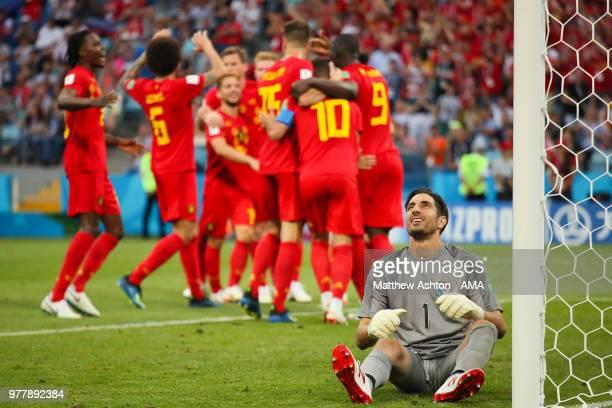 Romelu Lukaku of Belgium celebrates scoring a goal to make it 20 as Jaime Penedo of Panama looks dejected during the 2018 FIFA World Cup Russia group...