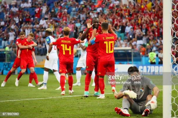 Romelu Lukaku of Belgium celebrates scoring a goal to make it 20 as Jaime Penedo of Panama looks dejected during the 2018 FIFA World Cup Russia group...