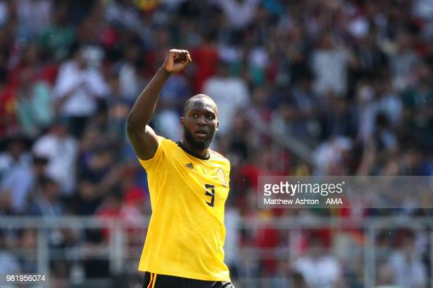 Romelu Lukaku of Belgium celebrates scoring a goal to make it 20 during the 2018 FIFA World Cup Russia group G match between Belgium and Tunisia at...