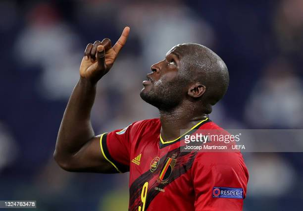 Romelu Lukaku of Belgium celebrates scoring a goal which is later disallowed by VAR for offside during the UEFA Euro 2020 Championship Group B match...