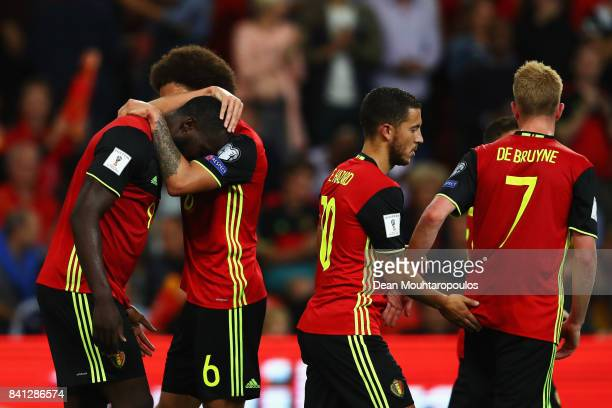 Romelu Lukaku of Belgium celebrates scoring a goal with team mates Axel Witsel Eden Hazard and Kevin De Bruyne during the FIFA 2018 World Cup...