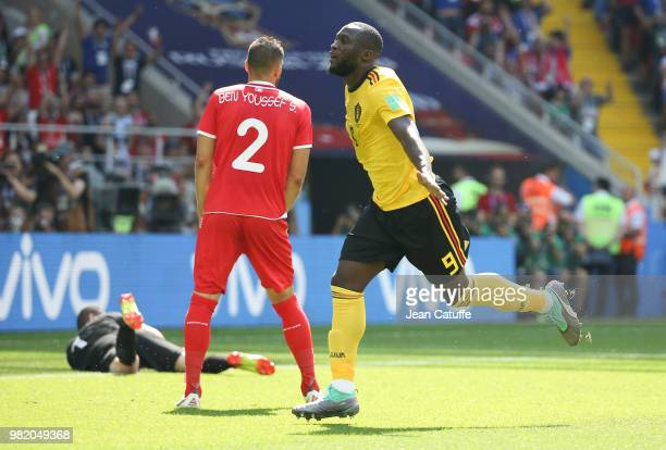 Romelu Lukaku of Belgium celebrates scoring his first goal during the 2018 FIFA World Cup Russia group G match between Belgium and Tunisia at Spartak...