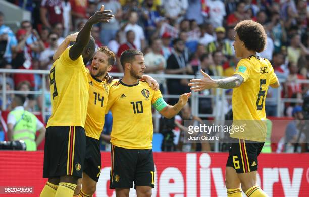 Romelu Lukaku of Belgium celebrates scoring his first goal with Dries Mertens Eden Hazard Axel Witsel during the 2018 FIFA World Cup Russia group G...
