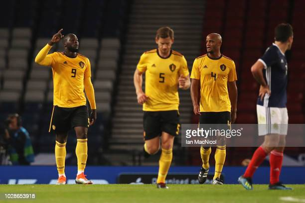 Romelu Lukaku of Belgium celebrates scoring his teams first goal of the game during the International Friendly match between Scotland and Belgium at...