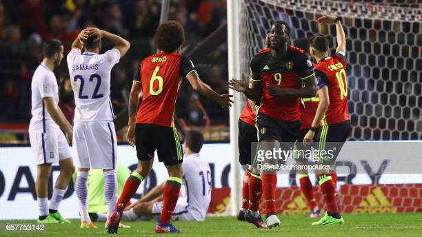 Romelu Lukaku of Belgium celebrates scoring his teams first goal of the game with team mates uring the FIFA 2018 World Cup Group H Qualifier match...
