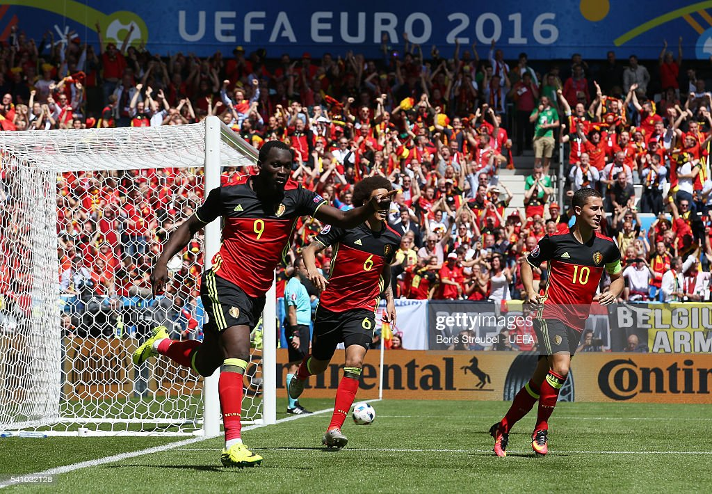 Romelu Lukaku of Belgium celebrates scoring his team's first goal during the UEFA EURO 2016 Group E match between Belgium and Republic of Ireland at Stade Matmut Atlantique on June 18, 2016 in Bordeaux, France.