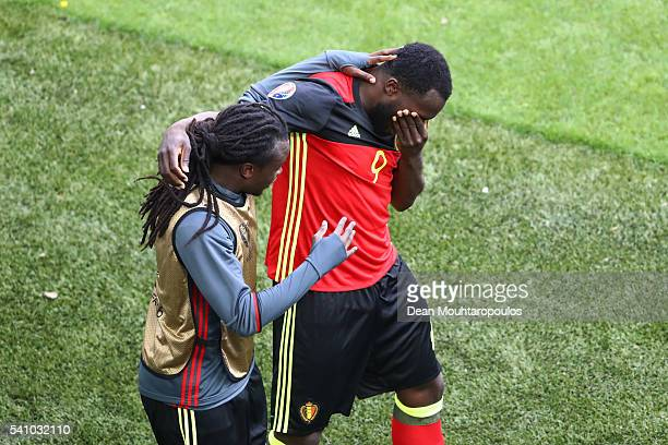Romelu Lukaku of Belgium celebrates scoring his team's first goal with his brother Jordan Lukaku of Belgium during the UEFA EURO 2016 Group E match...