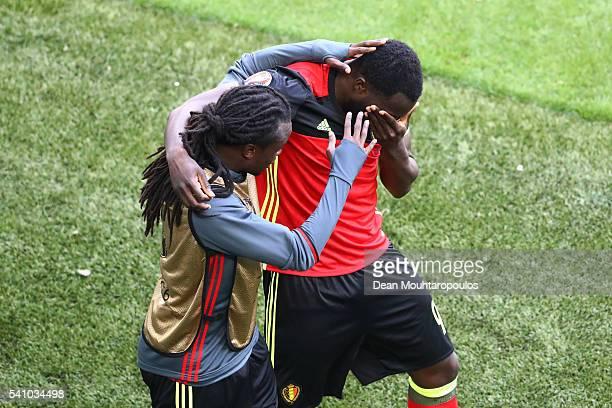 Romelu Lukaku of Belgium celebrates scoring his team's first goal with his brother Jordan Lukaku of Belgium during the UEFA EURO 2016 Group E match...