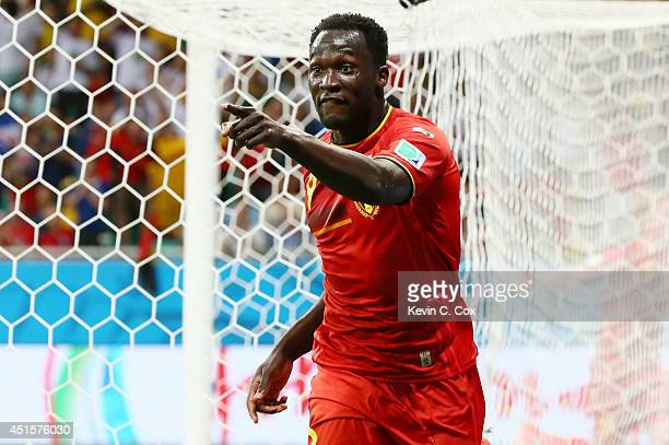 Romelu Lukaku of Belgium celebrates scoring his team's second goal in extra time during the 2014 FIFA World Cup Brazil Round of 16 match between...