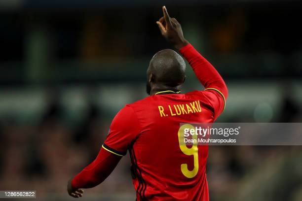 Romelu Lukaku of Belgium celebrates scoring his teams second goal of the game during the UEFA Nations League group stage match between Belgium and...