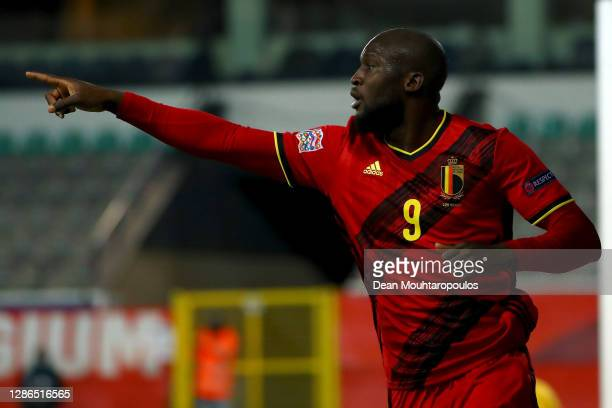 Romelu Lukaku of Belgium celebrates scoring his teams third goal of the game during the UEFA Nations League group stage match between Belgium and...