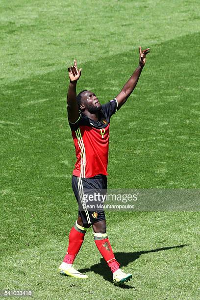 Romelu Lukaku of Belgium celebrates scoring his team's third goal during the UEFA EURO 2016 Group E match between Belgium and Republic of Ireland at...