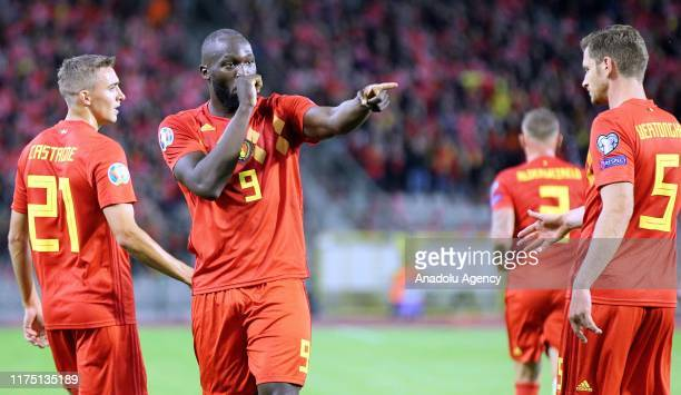 Romelu Lukaku of Belgium celebrates their victory at the end of the UEFA Euro 2020 Qualifiers Group I match between Belgium and San Marino at the...