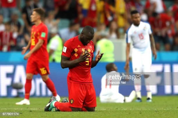 Romelu Lukaku of Belgium celebrates victory following the 2018 FIFA World Cup Russia group G match between Belgium and Panama at Fisht Stadium on...