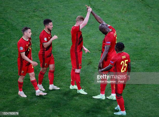Romelu Lukaku of Belgium celebrates with Kevin De Bruyne after scoring a goal which is later disallowed by VAR for offside during the UEFA Euro 2020...