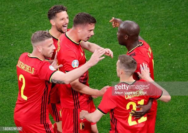 Romelu Lukaku of Belgium celebrates with team mates after scoring their side's first goal during the UEFA Euro 2020 Championship Group B match...