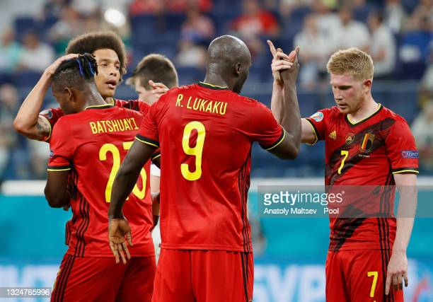 Romelu Lukaku of Belgium celebrates with teammate Kevin De Bruyne after scoring their team's second goal during the UEFA Euro 2020 Championship Group...