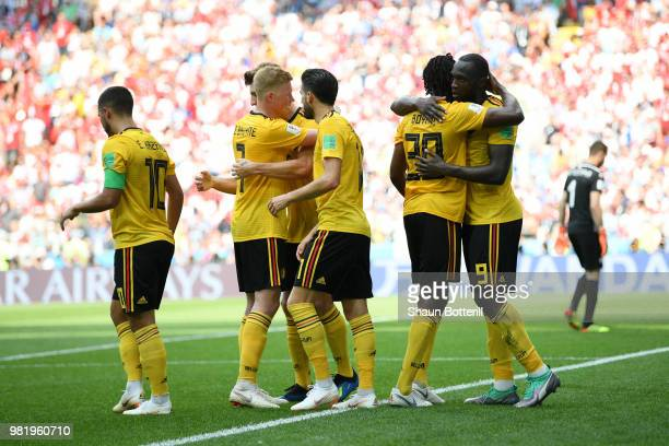 Romelu Lukaku of Belgium celebrates with teammates after scoring his team's third goal during the 2018 FIFA World Cup Russia group G match between...