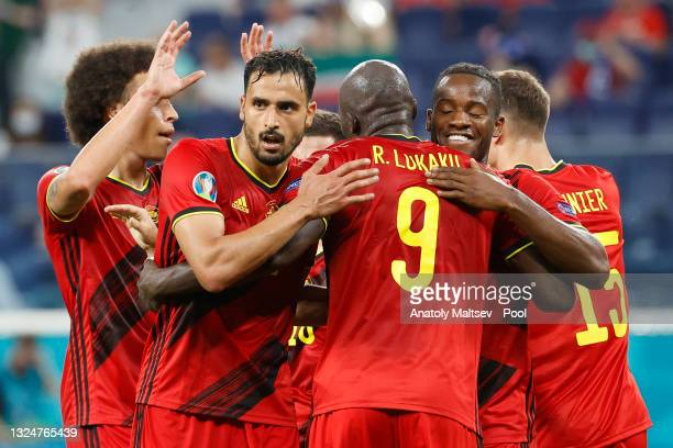 Romelu Lukaku of Belgium celebrates with teammates Axel Witsel, Nacer Chadli, and Michy Batshuayi after scoring their team's second goal during the...