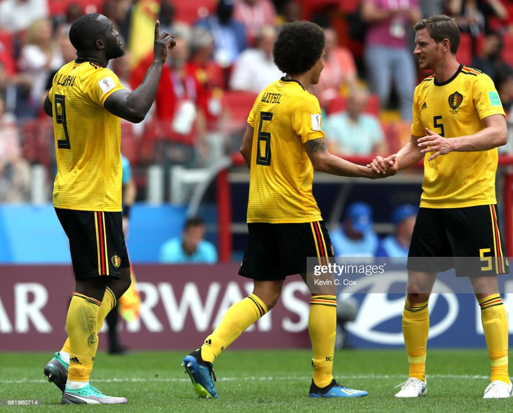Romelu Lukaku of Belgium celebrates with teammates Jan Vertonghen and Axel Witsel after scoring his team's third goal during the 2018 FIFA World Cup Russia group G match between Belgium and Tunisia at Spartak Stadium on June 23, 2018 in Moscow, Russia.