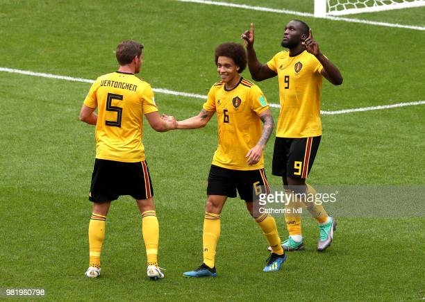 Romelu Lukaku of Belgium celebrates with teammates Jan Vertonghen and Axel Witsel after scoring his team's third goal during the 2018 FIFA World Cup...
