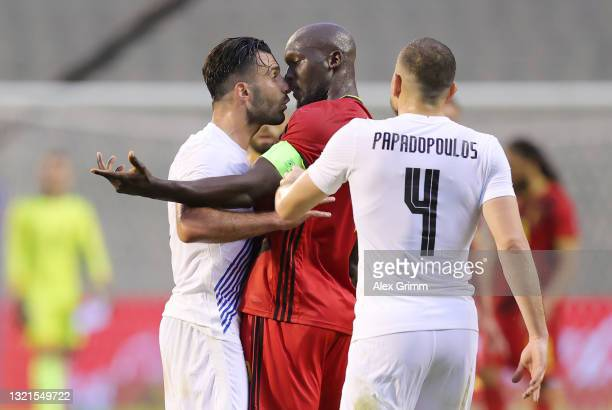 Romelu Lukaku of Belgium clashes with Giorgos Tzavellas of Greece during the international friendly match between Belgium and Greece at King Baudouin...