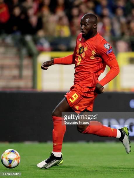 Romelu Lukaku of Belgium during the EURO Qualifier match between Belgium v San Marino at the Koning Boudewijn Stadium on October 10 2019 in Brussel...