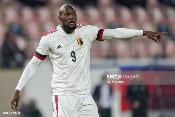 Romelu Lukaku of Belgium during the FIFA World Cup 2022 Qatar Qualifier match between Belgium and Wales at Den Dreef on March 24, 2021 in Leuven,...