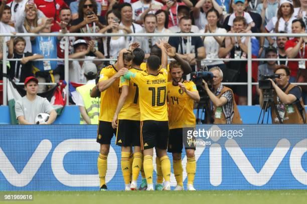 Romelu Lukaku of Belgium Eden Hazard of BelgiumRomelu Lukaku of Belgium Dries Mertens of Belgium during the 2018 FIFA World Cup Russia group G match...