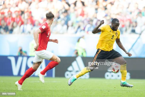 Romelu Lukaku of Belgium in action during the 2018 FIFA World Cup Russia 3rd Place Playoff match between Belgium and England at Saint Petersburg...