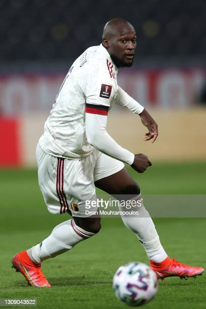 Romelu Lukaku of Belgium in action during the FIFA World Cup 2022 Qatar qualifying match between Belgium and Wales at King Power at Den Dreef on...