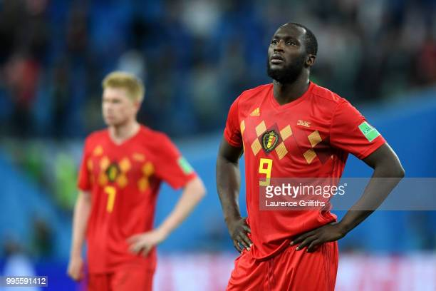 Romelu Lukaku of Belgium looks dejected following his sides defeat in the 2018 FIFA World Cup Russia Semi Final match between Belgium and France at...