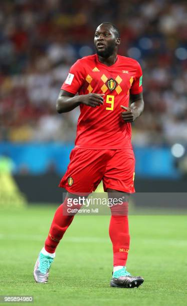 Romelu Lukaku of Belgium looks on during the 2018 FIFA World Cup Russia Round of 16 match between Belgium and Japan at Rostov Arena on July 2 2018 in...
