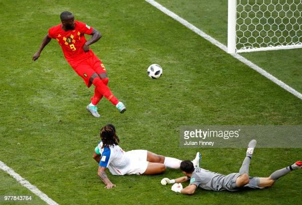 Romelu Lukaku of Belgium misses a shot during the 2018 FIFA World Cup Russia group G match between Belgium and Panama at Fisht Stadium on June 18...