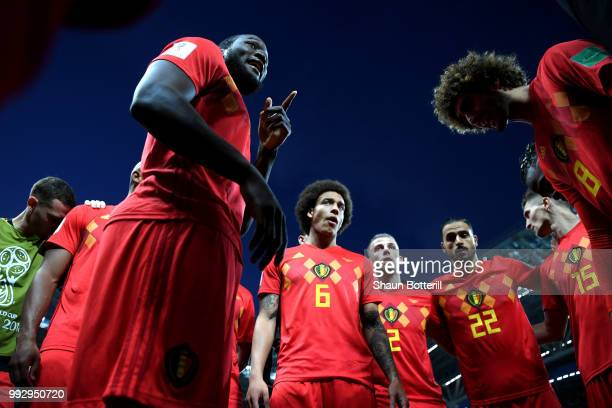 Romelu Lukaku of Belgium motivates team mates prior to during the 2018 FIFA World Cup Russia Quarter Final match between Brazil and Belgium at Kazan...